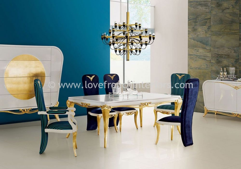 Spacium Dining Collection in White and Gold